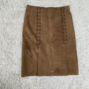 KENNETH COLE TAN SUEDE LEATHER SKIRT